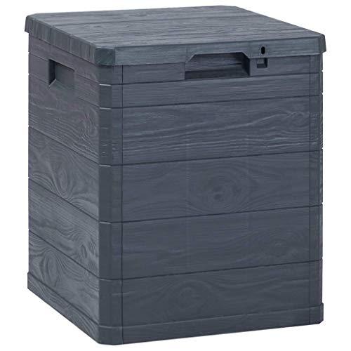 woyaochudan Caja de Almacenamiento de jardín Armario de Patio al Aire Libre con Cerradura Unidad de Organizador de Cofre de Utilidad 90L Antracita