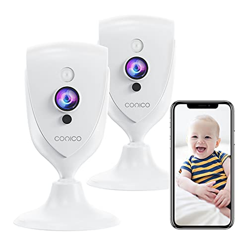 Baby Monitor, Conico 1080P HD Pet Camera Indoor with Motion Detection,IR Night Vison,Home Camera with 2-Way Audio,Cloud Service,Compatible with Alexa (2Pcs)