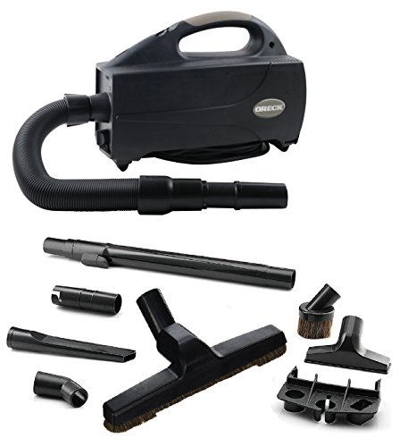 Oreck Compact Canister Vacuum-Handheld Cannister Cleaner & Blower w/HEPA Filter Bag for Dusting Dirt & Dog Hair for Hardwood, Wooden & Tile Floors, BB1200DB, Black