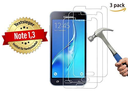 Cardana | 3X bruchsicheres Schutzglas für Samsung Galaxy J3 2016 | Schutzfolie aus 9H Echt Glas | angenehme Handhabung| Schutzglas zum Schutz vor Displayschäden | blasenfreie Anbringung | 3 Stück…