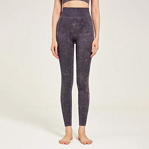 Lankfun Pantalones de Yoga de Control de Abdomen de Cintura Alta,Pantalones de Yoga Ajustados sin Costuras de Alta Elasticidad para Mujer-Gris_Large,Mallas de compresión de Control de Barriga