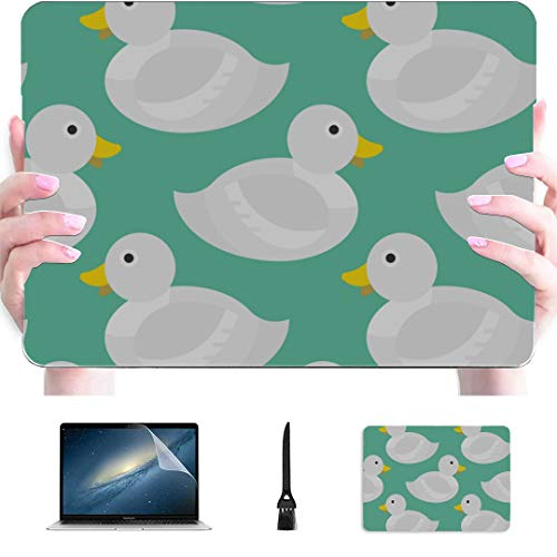Macbook 13 Case Swimming Snow White Duck Creature Plastic Hard Shell Compatible Mac Air 13' Pro 13'/16' Laptop Pro Accessories Protective Cover For Macbook 2016-2020 Version