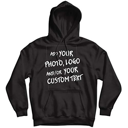lepni.me Sudadera con Capucha Regalo Personalizado, Agregar Logotipo de la Compañía, Diseño Propio o Foto (Medium Negro Multicolor)