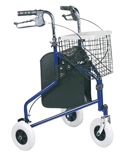 FabaCare Rollator Actimo Delta, 3-Rad-Rollator, Gehhilfe blau, Korb, Tablett, Feststellbremsen, Höhe verstellbar, Heimrollator mit 3 Rädern, bis 120 kg