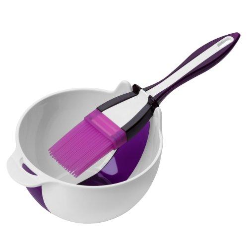 Premier Housewares 0805296 Bol de Préparation + Pinceau à Pâtisserie Plastique/Silicone Rouge/Violet