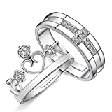 Aooaz Wedding Ring Set His and Hers Sterling Silver Rings Set for Him and Her Cross and Crown Ring Cubic Zirconia Promise Ring Set for Couples Adjustable Engagement Ring Silver