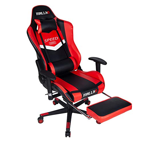 Polar Aurora Ergonomic Gaming Chair High Back Swivel Racing Office Chair PU Leather Sturdy Metal Frame with Adjustable Armrests and Footrest/RED