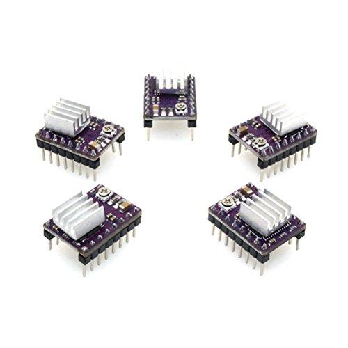 UEETEK 5 Stück DRV8825 Schrittmotor Treiber Modul 4-Layer mit Mini Kühlkörper für 3D-Drucker