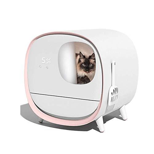 Eortzzpc Automático De Arena for Gatos Caja, Electrónico Bandeja Higiénica Inteligente con Autolimpieza, Completamente Cerrado Aseo del Gato, Sin Olores (Color : Pink)
