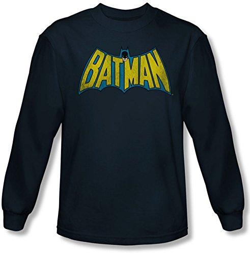 Dc Comics - Classique Batman Logo Tee shirt manches longues Homme En Marine, X-Large, Navy