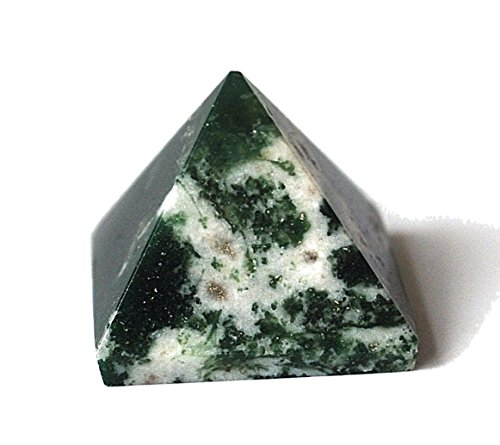Reiki Healing Energy Charged - Pirámide de cristal con ágata de musgo (aprox. 2 cm)