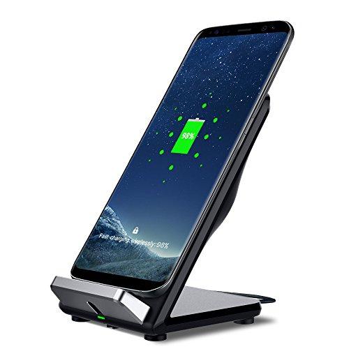 Mettime - Cargador inalámbrico rápido de 7,5 W con 2 bobinas Qi para Samsung Galaxy Note 8, Galaxy S8, S8 +, Galaxy S7, Galaxy S7 Edge, Galaxy S6 Edge +, iPhone X 8 8 Plus