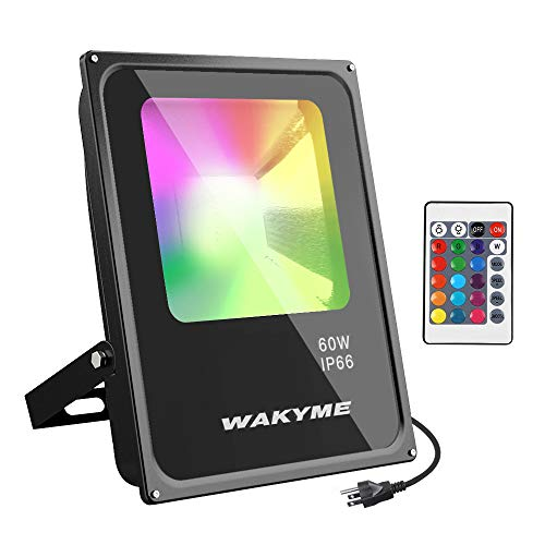 LED Flood Light, WAKYME 30W RGB Color Changing Floodlight with Remote Control, IP66 Waterproof, 64 Modes 16 RGB Colors Dimmable Wall Washer Light, Stage Lighting with US ETL 3-Plug, 2 Sets
