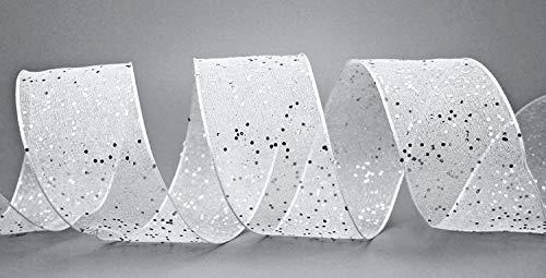 finemark Dekoband (1,18€/m) Glitzer Weiss Silber 3 m x 40 mm Stoffband Transparent glänzend Organza mit Drahtkanten elegant Weihnachten Advent Geburtstag Premium Glitter Ribbon