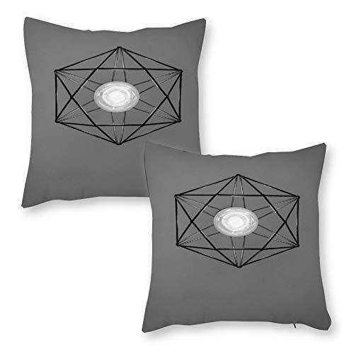 DKE&YMQ Juego de 2 fundas de cojín decorativas de lino para el hogar, accesorio de iluminación de techo, accesorios de iluminación y tonos