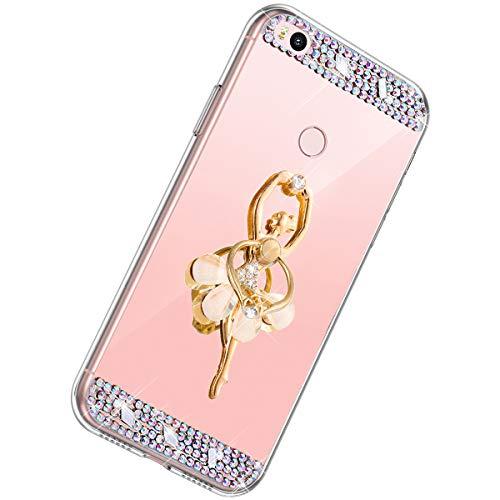 Herbests Kompatibel mit Xiaomi Mi Max 2 Hülle Glitzer Mädchen Schuzhülle Spiegel Bling Strass Diamant Blumen Transparent TPU Silikon Handyhülle Tasche Ring Halter Ständer,Rose Gold