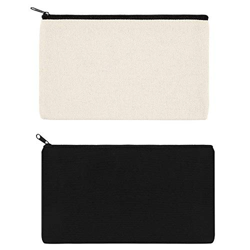2 Pack Zipper Canvas Pen Case DIY Craft Blank Makeup Bags - Cotton Canvas Invoice Bill Bag Canvas Pencil Pouch Canvas Cosmetic Bag Multi-Purpose Travel Cosmetic Bag Organize Storage Black White