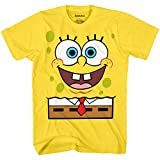 Mens Spongebob Squarepants Classic Shirt - Spongebob, Patrick, Squidward & Mr Krab Big Face T-Shirt (Yellow, X-Large)