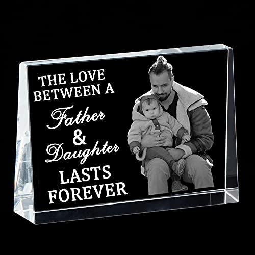 Personalized Birthday gifts for Men Dad - Custom Crystal Picture Photo Frame Father's Day Gifts from Daughter for Dad Daughter Elegant Signs Happy Fathers day Best Dad Ever
