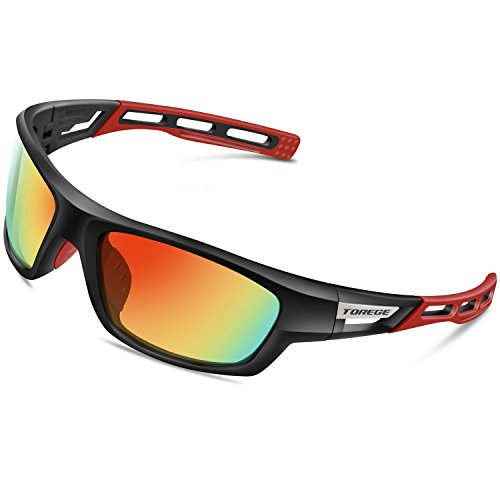 TOREGE Polarized Sports Sunglasses for Man Women Cycling Running Fishing Golf TR90 Unbreakable Frame TR011(Black&Gray)