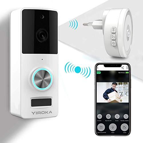 Timbre inalámbrico YIROKA, timbre de video HD 720P, timbres de cámara Wifi, detección de movimiento PIR, gran receptor con LED y empuje a prueba de agua
