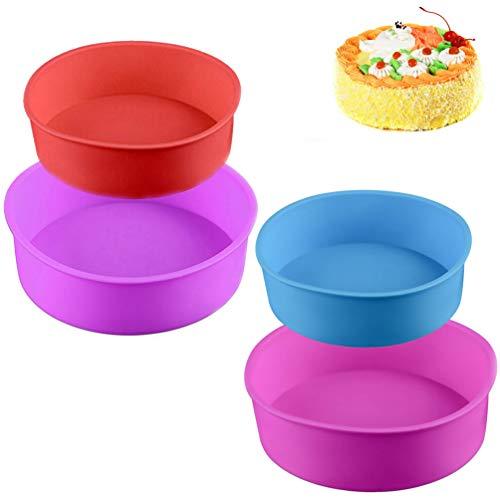 4 moldes redondos de silicona para repostería, molde para repostería, molde de 4 pulgadas, 6 pulgadas (azul/rojo/morado/rosa
