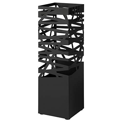 SONGMICS ULUC047B01 - Paragüero de metal, con bandeja de goteo extraíble, 4 ganchos, para bastones de paseo, entrada, oficina, color negro