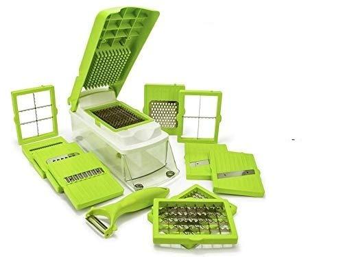 NOVEL Vegetable & Fruit Chipser with 11 Blades + 1 Peeler Inside, Vegetable Chopper, Vegetable Slicer, Fruit Cutter, Fruit Slicer, (Chopper, Green)