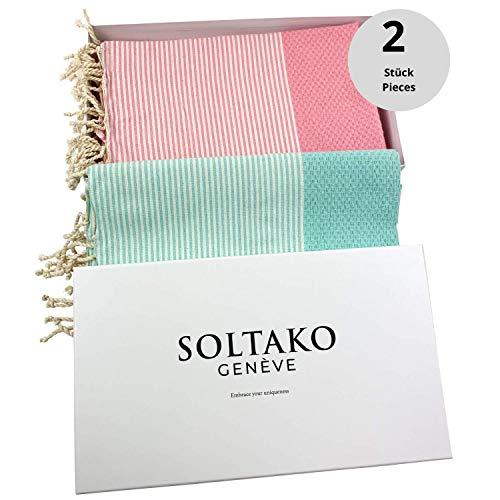 SOLTAKO XXL 2X Fouta Strandtuch Handtuch Saunatuch Badetuch Hamamtuch Yoga Decke Pestemal in Kirschblütenrosa & Mint Farben als 2er Geschenkset extra groß, 100 x 200 cm