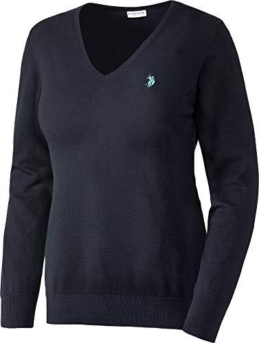 U.S. POLO ASSN. Damen Baumwoll-Pullover in Marine, V-Schnitt, Leicht taillierte Passform und vielseitig kombinierbar, Damen Sweatshirt für Sommer und Winter, Gr. S - XL