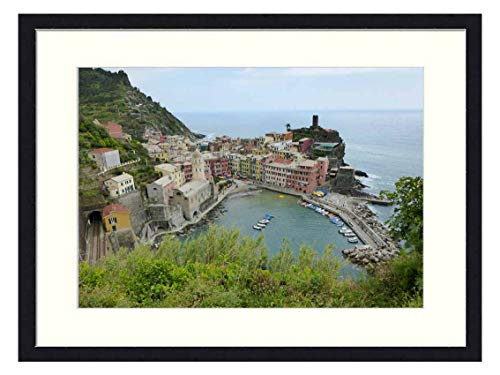 OiArt Wall Art Canvas Prints Wood Framed Paintings Artworks Pictures(20x14 inch) - Cinque Terre Amalfi Coast Italy Holiday Summer Sea