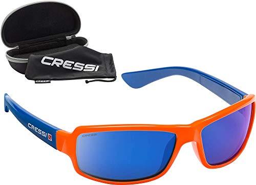 Cressi Ninja Floating - Gafas Flotantes Polarizadas para Deportes con una protección 100% UV Adultos Unisex, Naranja/Azul/Lentes Azul Espejadas