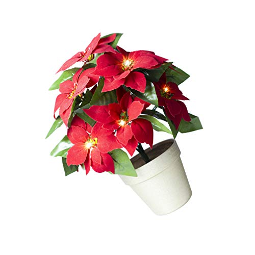 Lurrose Potted Red Poinsettia Plant Led Light Up Artificial Floral Lamp Flower Desktop Light Poinsettias Artificial Christmas Flowers Pot Table Fireplace Window Decoration