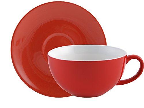 Randwyck-Tazza da Cappuccino con piattino, Colore: Rosso