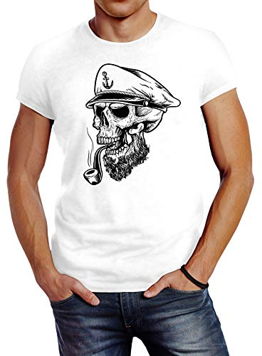 Neverless Herren T-Shirt Captain Skull Beard Kapitän Totenkopf Bard Sailor Schädel Slim Fit weiß M