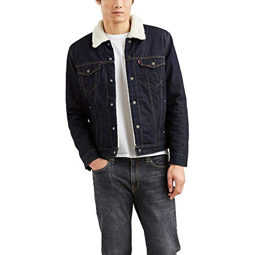 Levi's Men's Size Big & Tall Sherpa Trucker Jacket-Tall, juniper rinse, XL T