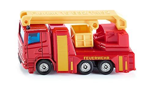 SIKU 1080, Feuerwehr Hubrettungsbühne, Rot/Gelb, Ausklappbare Hubrettungsbühne, Schwenkbarer Tragekorb