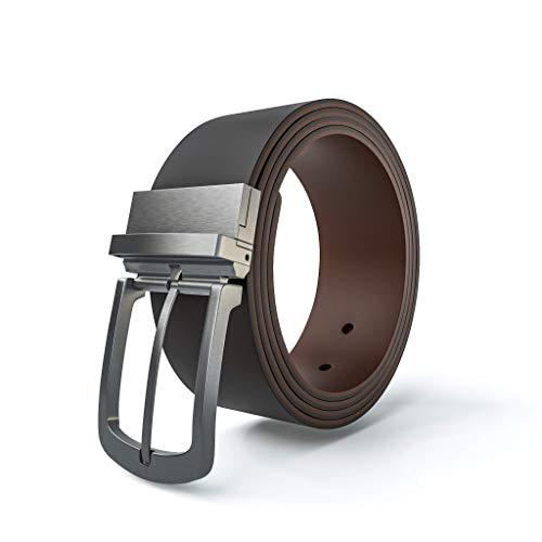 Viannchi Cinturón reversible hombre, cinturón de piel genuino en dos tonos de Marrón con correa ajustable en diferentes tallas. (125)