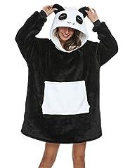Idea Regalo - Coperta da Divano Panda Coperta con Cappuccio Taglie Forti Unisex Caldo Plaid con Maniche Tasca Divertente Felpone (Taglie M-1: Adatto per altezza 150 e 175 cm)