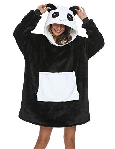 Manta de sofá Panda con capucha, tallas fuertes, unisex, cálida manta con mangas, bolsillo divertido de felpa (tallas M-1: apto para altura 150 y 175 cm)