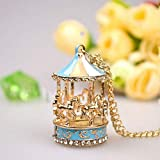 SANWOOD Pendant Necklace for Women Sweet Enamel Carousel Merry Go Round Horse Charm Pendant Sweater Chain Necklace Jewelry Gifts - ##