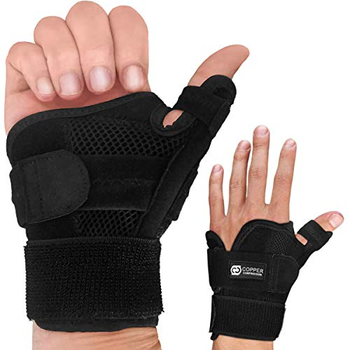 Copper Compression Recovery Thumb Brace - Guaranteed Highest Copper Thumb Spica Splint for Arthritis, Tendonitis. For Both Right Hand and Left Hand. Wrist, Hand, and Thumb Stabilizer and Immobilizer