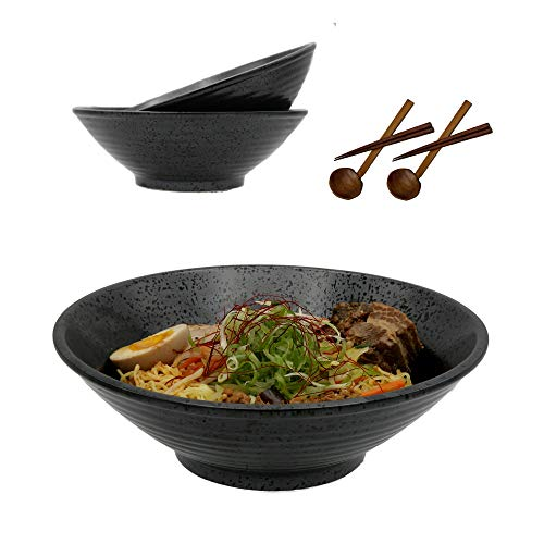 Stoneware Japanese Ramen Bowls with Spoons and Chopsticks - 2 large bowl set (60oz, 10 inch), noodle...