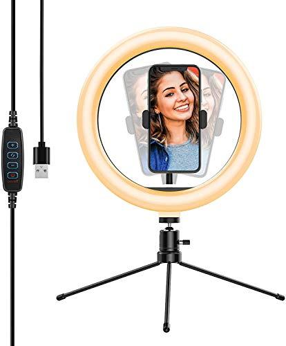 Luz de Anillo LED fotográfica de Escritorio, 3 Color 10 Brillo, Trípode con Soporte Giratorio de teléfono para Transmisión en Vivo, Selfie, Maquillaje, Videoconferencia, Youtube, TikTok