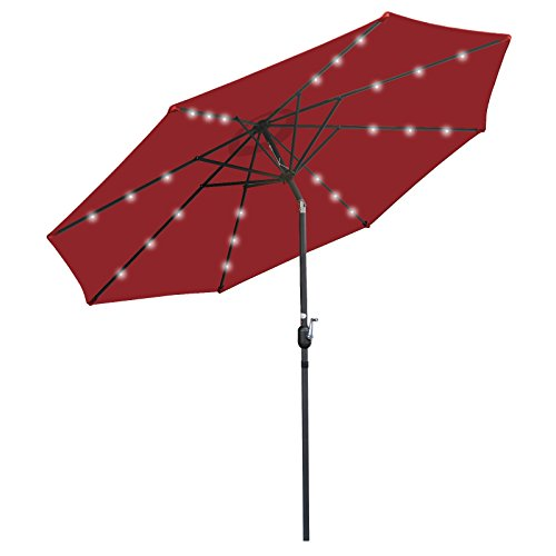 SUPER DEAL 10FT Solar LED Lighted Patio Umbrella Table Umbrella - Push Button - Tilt Adjustment&Crank Lift System - Aluminum Ribs for Patio, Garden, Backyard, Deck, Poolside, and More (Burgundy)