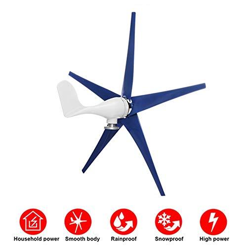 STHffical 6000 W Windkraft-Generator 12 V/24 V/48 V 3/5 Nylonfaser-Klinge Horizontal Power Windmühle Energie Turbinen Charge Fit für Zuhause, 24 V, 5Blades