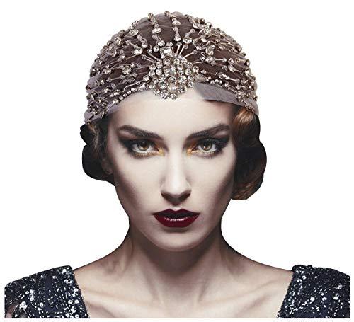 keland Diadema vintage de los años 20 rugiendo de los años 20 con cuentas de cristal y diamantes de imitación para Gatsby, accesorio de fiesta de novia turbante (estilo A)