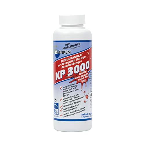 FRANKEN-Chemie KP 3000 Kotze-Pulver (1L Flasche) Streugranulat zur Bindung flüssiger Ausscheidungen, geruchsüberdeckend, schonend, nimmt den Ekel