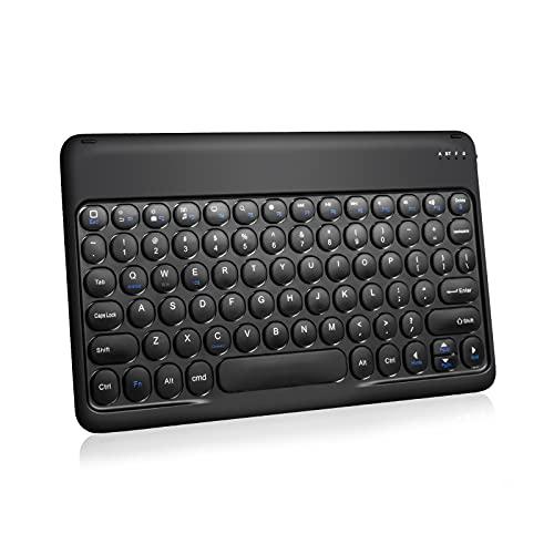AYCLIF Teclado Inalámbrico - Recargable Portátil Teclado El Nuevo Botón Redondo 10 Pulgadas para iOS, Android y Windows,Tablets iPad y Teléfonos (Disposición de Teclado Internacional), Negro