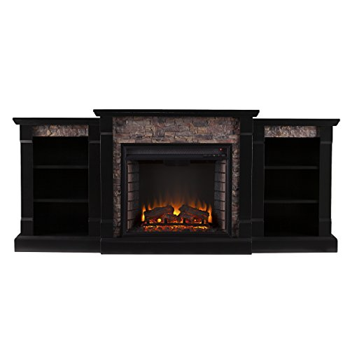 SEI Furniture Southern Enterprises Ganyan Faux Stone Electric Fireplace with Bookcase, Black Finish
